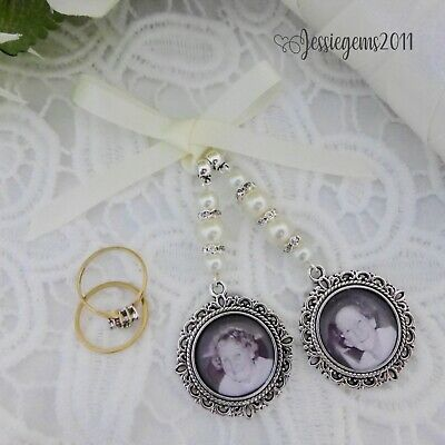 Bridal bouquet photo memory charm double round frame memorial charm wedding