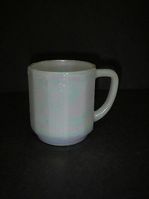 Federal Glass 12-sided Dodecagon Mug Iridescent Opalescent Pearl Luster RARE