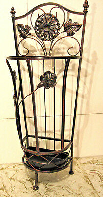 Antique Looking Brown Metal Wrought Iron Umbrella Holder Stand