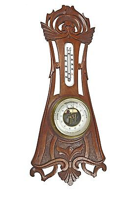 Antique Carved Walnut Barometer / Thermometer Combination, Dutch.