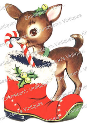 Vintage Image Christmas Deer Fawn Stocking Candy Cane Decals CHR212