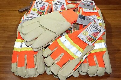 (12) High Visibility Pigskin Leather Insulated Winter Work Gloves 2X-Large 2XL