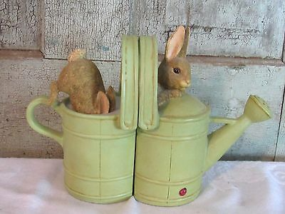 1999 Frederick Warne Beatrix Potter Peter Rabbit Pair of Bookends Watering Cans