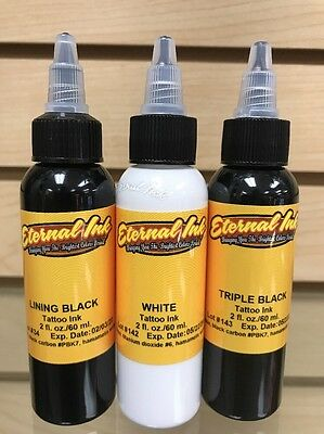 Eternal Tattoo Ink Lining Black + Triple Black + White 3 Color 2 Ounce Trio Deal