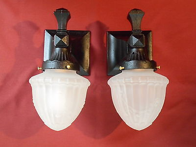 1910s MISSION ARTS & CRAFTS PORCH SCONCE PR W/ GLASS SHADES