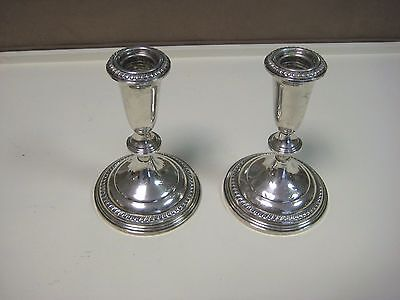 Vintage Pair Of Empire Sterling Weighted Candlesticks 361