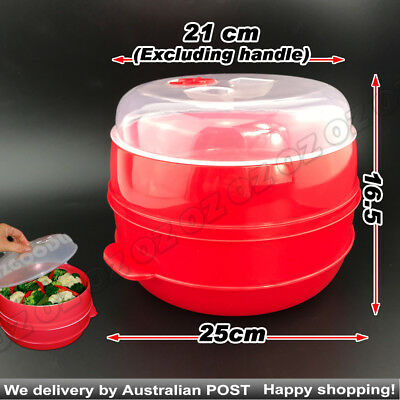 2 Tier Microwave Steamer Double Layer Cooking Meals Kitchen Syd Vegetable Red
