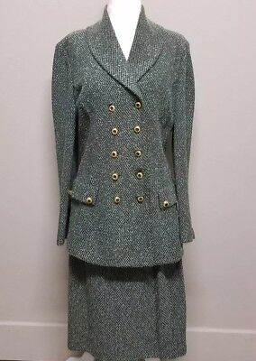 St. John Collection Marie Gray Knit Emerald Deep Green Skirt Suit size 10 8
