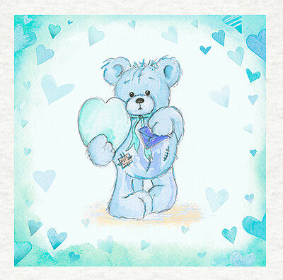 Teddy And Mouse Watercolour PrintSewingCraftPrinted Fabric