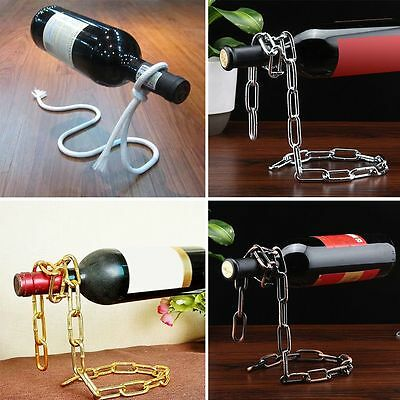 Magic Illusion Floating Wine Bottle Holder Rope Lasso Chain Wine Rack Novelty US