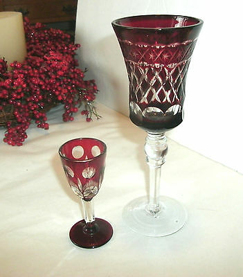 Two Vintage Ruby Red Cut To Clear Stemmed Glasses, Coridal, Wine