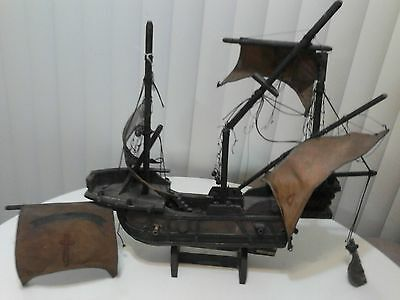 Antique Large Wood Ship Model Santa Maria