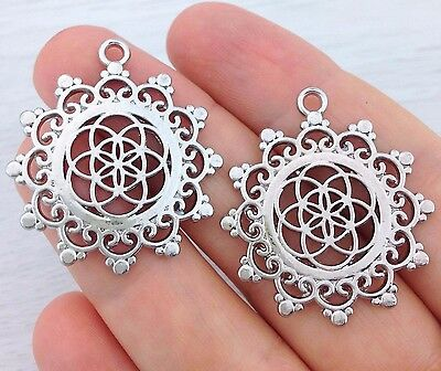 Seed of Life Charm - 1/2pcs - Flower of Life Pendant - Sacred Geometry   CH101