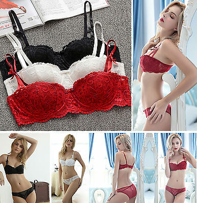 Uk Ladies Underwear Sheer Lace Push Up Padded Bra Set Knickers Briefs 32-38 Bc