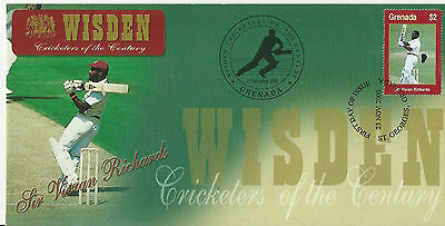 GRENADA WISDEN 2000 CRICKET SIR VIVIAN RICHARDS 1v FIRST DAY COVER No 1 of 4