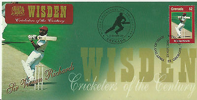 GRENADA WISDEN 2000 CRICKET SIR VIVIAN RICHARDS 1v FIRST DAY COVER No 3 of 4