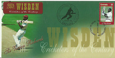 GRENADA WISDEN 2000 CRICKET SIR VIVIAN RICHARDS 1v FIRST DAY COVER No 4 of 4