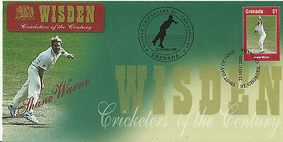 GRENADA WISDEN 2000 CRICKET SHANE WARNE 1v FIRST DAY COVER No 3 of 8