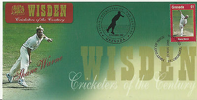 GRENADA WISDEN 2000 CRICKET SHANE WARNE 1v FIRST DAY COVER No 5 of 8