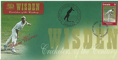 GRENADA WISDEN 2000 CRICKET SHANE WARNE 1v FIRST DAY COVER No 6 of 8