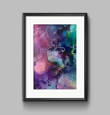 ABSTRACT DARK PAINTING PINK BLUE Print A4 or A3 Wall Art HOME DECOR