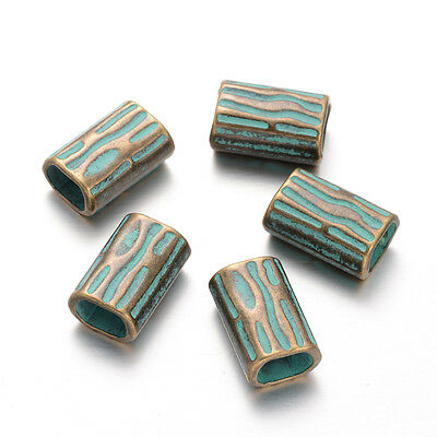 10pcs Rectangle Large Hole Metal Beads Antique Bronze Green Spacers 22x14x10mm