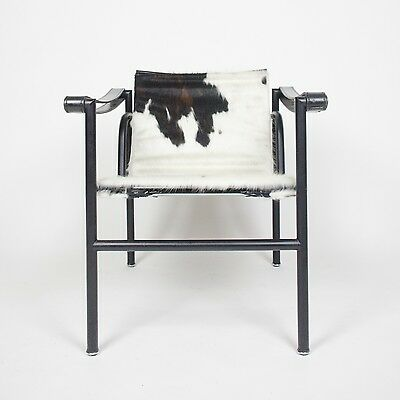 Rare Authentic Le Corbusier Cassina LC1 Basculant Lounge Chair Cowhide Marked
