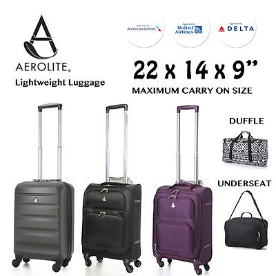 """22x14x9"""" American United Delta Airline Maximum Carry On Luggage Travel Suitcases"""