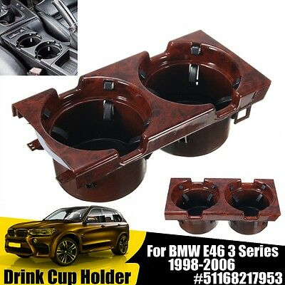 Wooden Grain Front Console Center Drink Cup Holder 51168217953 For BMW E46