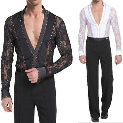 Men Dancewear Set Latin Ballroom Dance Costume Rhythm Salsa Hollow Shirt+Pants M