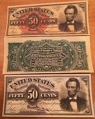 Copy 1863 Lincoln 50 Cent US Fractional Note Currency Reproduction & Proof