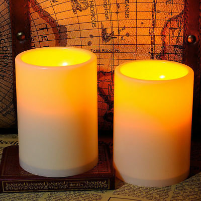 2 Pack Flickering Flameless Resin Pillar LED Candle Lights with 4 & 8 Hour Timer