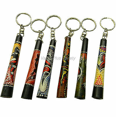 1 x Australian Aboriginal Kangaroo Dot Art Wood Didgeridoo Souvenir Key Rings