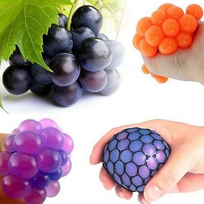 AU ADHD Stress Reliever Squishy Mesh Ball Grape Sensory Fruity Squeeze Toys Gift