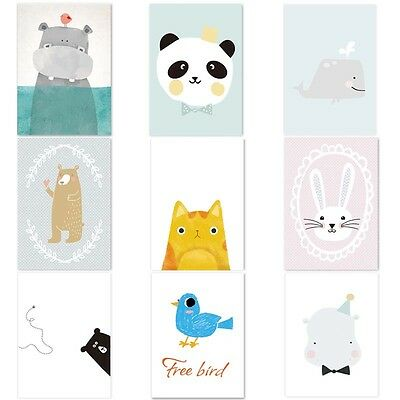Lovely Cartoon Animal For Baby Room Decor Canvas Print Painting Poster Unframed