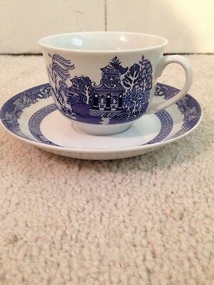 Set of 4 Royal Cuthbertson Blue Willow China - Tea / Coffee Cup & saucers