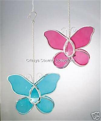 2 PC Blue Pink Stained Glass Butterfly Hanging Candle Holders Hinged Opening NEW