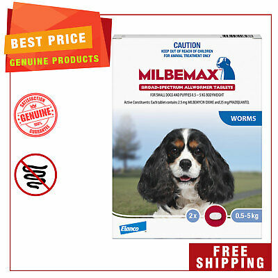 Milbemax Allwormer Dog worm treatment 2 Tablets for Small Dogs 0.5 to 5 Kg
