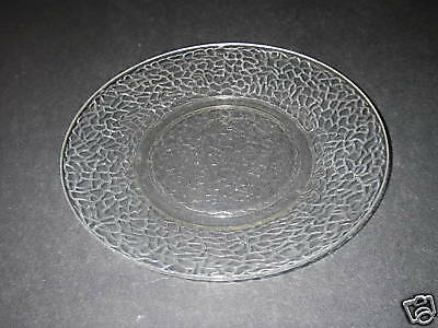 """L E Smith McKee Glass CRACKLE by Cracky Clear Salad Plate 8"""" Round Depression."""