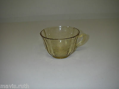 Federal Glass MADRID Amber Cup flat Depression Glassware Yellow 1932-1939.