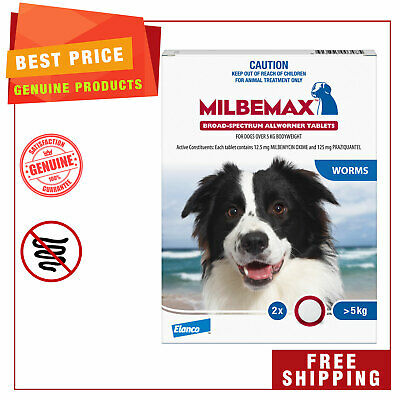 Milbemax Allwormer Dog worm treatment 2 Tablets for Large Dogs 5 to 25 Kg