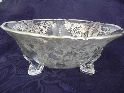 """Vintage Grape Silver Overlay Clear Glass Footed Bowl/Serving Dish, 7 3/8"""""""