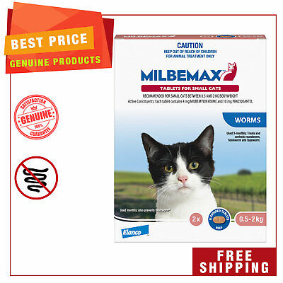 Milbemax Allwormer Cat Worm treatment 2 Tablets for Small Cats 0.5 to 2 Kg