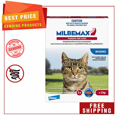Milbemax Allwormer Cat Worm treatment 2 Tablets for Large Cats Over 2 Kg