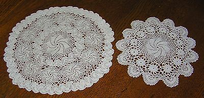 Two Vintage Intricate Hand Crocheted Lace Small Medium Round Doily Delicate Fine