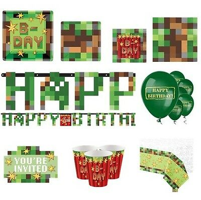 TNT Party Video Game Birthday Minecraft Inspired Tableware Decoration Favour Set