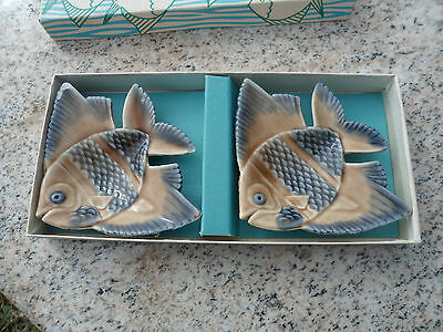 Aqua Dishes in Porcelain by Wade of Ireland Angel Fish Blue Beige Dish w/ Box