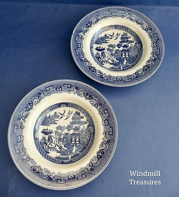 PAIR JOHNSON BROTHERS BLUE & WHITE WILLOW PATTERN RIMMED SOUP BOWLS 22cm - NEW