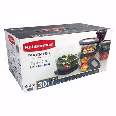 Rubbermaid 30 PC  Premier Food Container Storage Set Stain Resistant BPA FREE