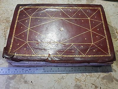 Rare big size ARABIC ISLAMIC QURAN original leather binding completely coloured